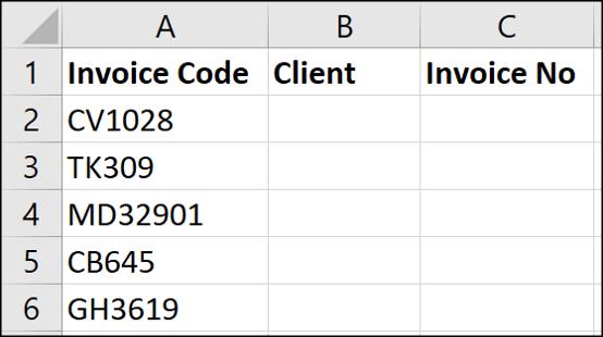 Exemple de données pour un texte à largeur fixe