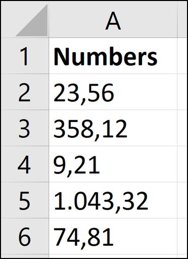 Formats de nombres européens pour la conversion