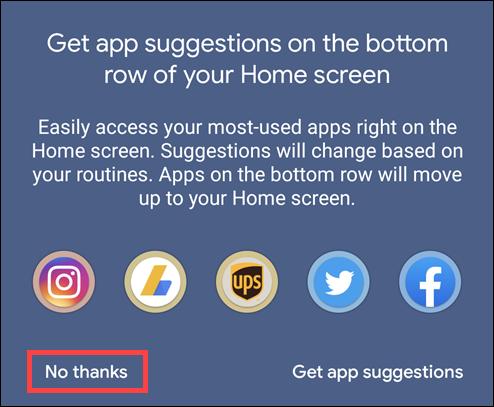 cliquez non merci pour désactiver les suggestions d'applications