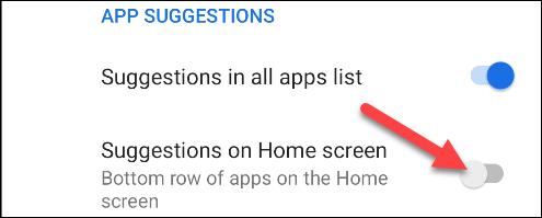 désactiver les suggestions sur l'écran d'accueil