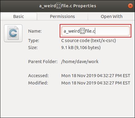 Nom de fichier avec un caractère de contrôle, dans la fenêtre de dialogue de changement de nom