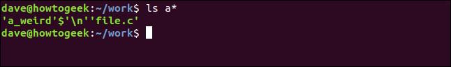 Nom de fichier avec caractère de contrôle dans une fenêtre de terminal