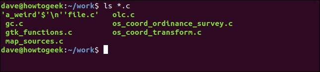 ls * .c dans une fenêtre de terminal
