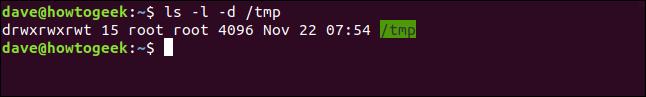 ls -l -d / tmp dans une fenêtre de terminal