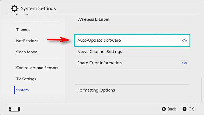 Sélectionnez le logiciel de mise à jour automatique dans les paramètres de la Nintendo Switch