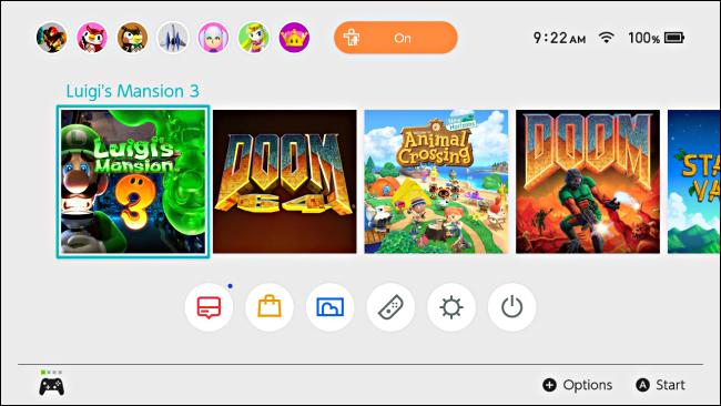 Un jeu est surligné avec le curseur sur l'écran d'accueil de la Nintendo Switch