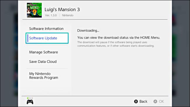 Un message dans le jeu Options montrant le téléchargement de la mise à jour sur Nintendo Switch