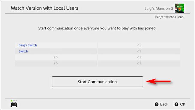 Sélectionnez Démarrer la communication sur Nintendo Switch