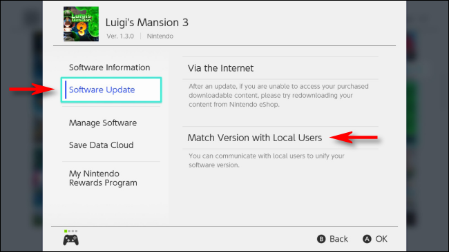Sélectionnez Match Version with Local Users dans le menu Options de Nintendo Switch