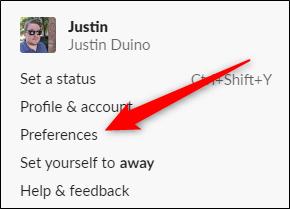 Préférences de Slack pour Desktop Click