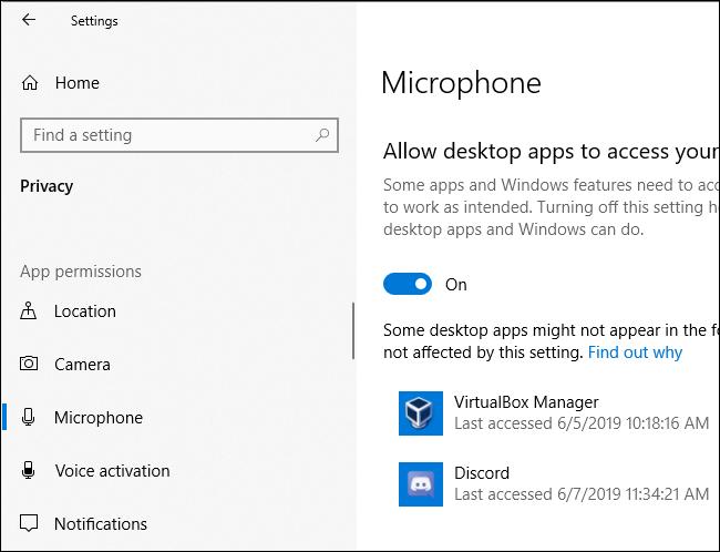 Volet de confidentialité du microphone de Windows 10 indiquant la dernière fois que les applications ont accédé au microphone du PC