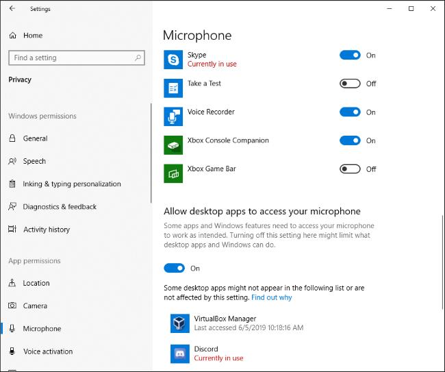Quelles applications utilisent actuellement votre micro dans l'application Paramètres de Windows 10