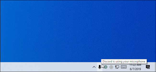 Passer la souris sur l'icône du microphone dans la barre d'état système de la mise à jour de mai 2019