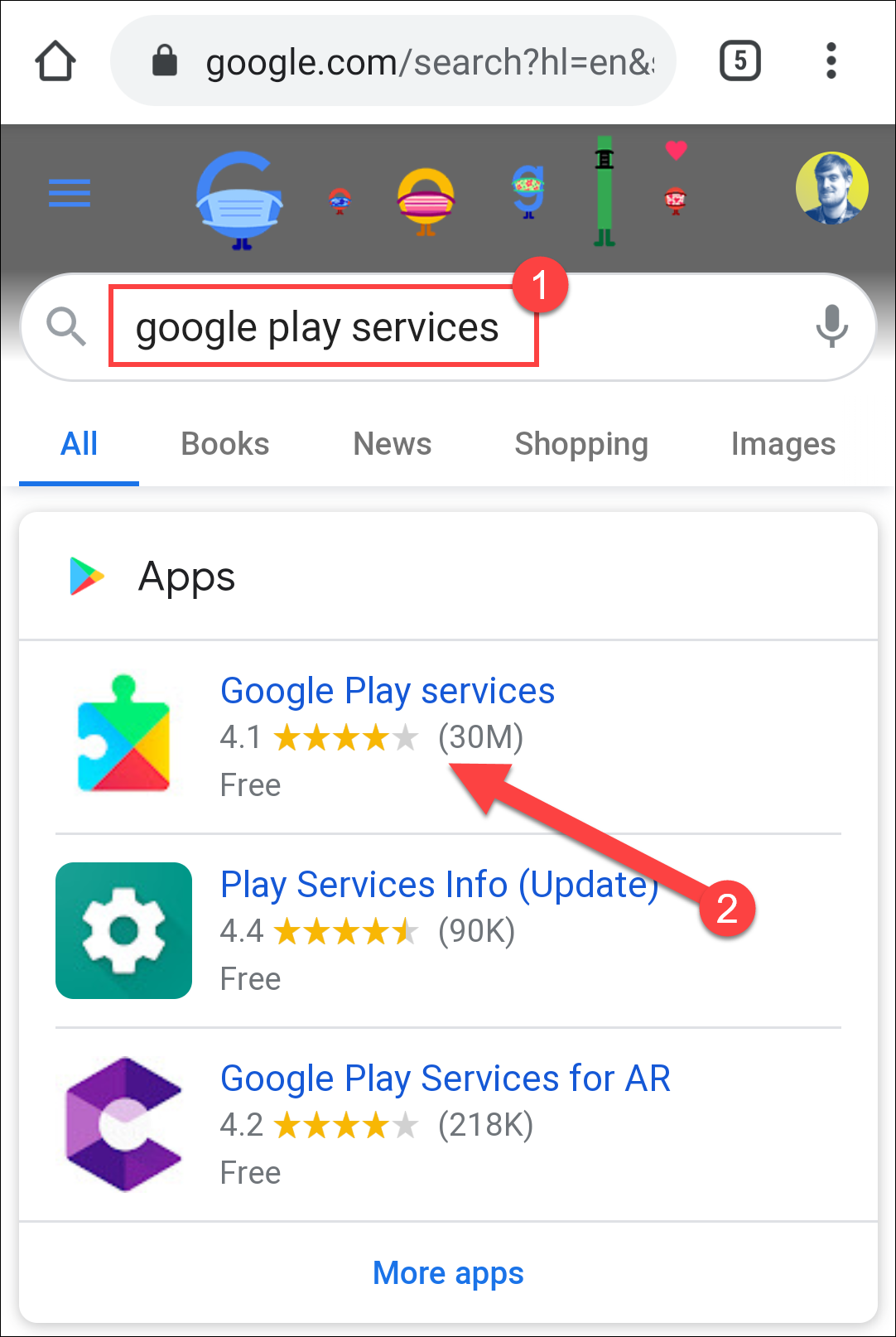 recherche de services google play