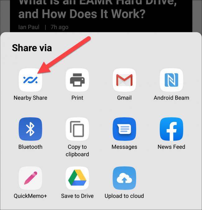 icône de partage à proximité dans la feuille de partage