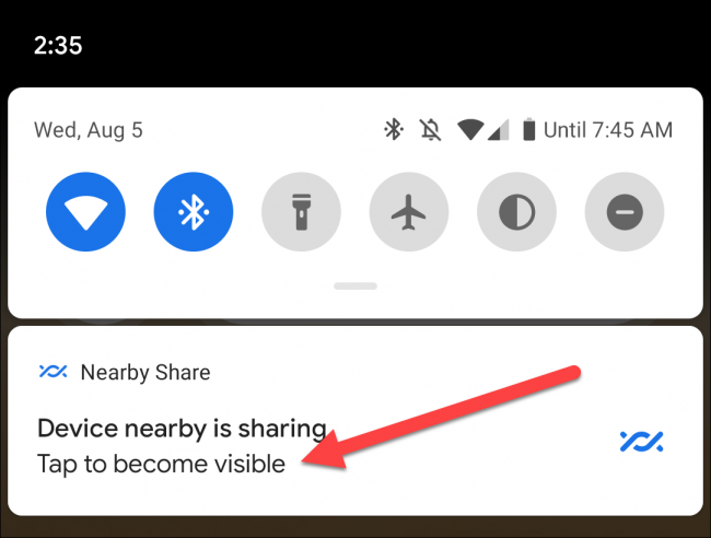 notification de partage à proximité