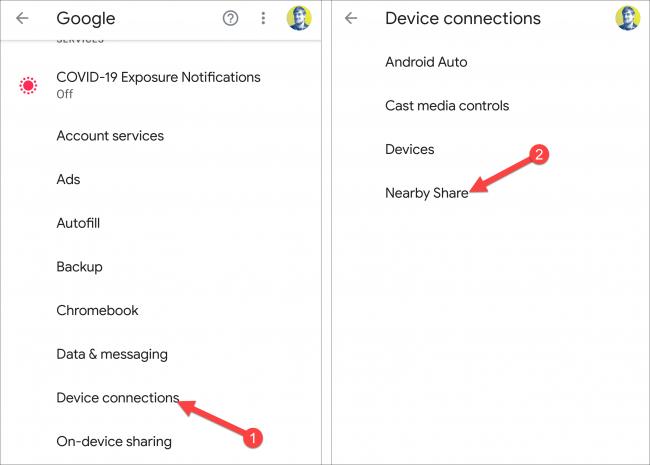 connexions d'appareils à proximité partager