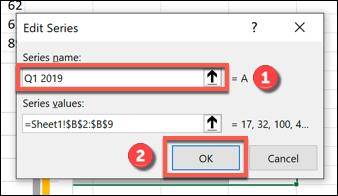 """Renommez votre série de données dans le """"Nom de la série"""" boîte, puis cliquez sur """"D'accord"""" confirmer."""