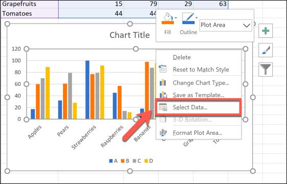 Cliquez avec le bouton droit sur votre graphique, puis cliquez sur Sélectionner les données pour commencer à renommer votre série de données.