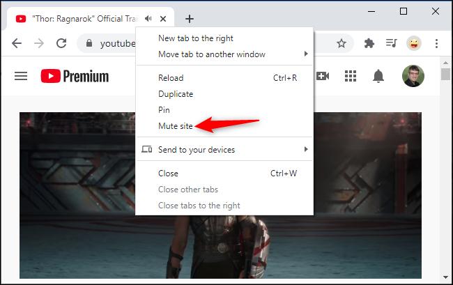 Désactiver un site Web à partir du menu contextuel de l'onglet de Chrome