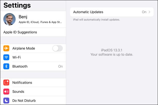 Le message à jour du logiciel dans iPadOS.