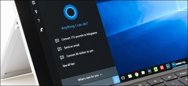 Surface Pro 4 avec Cortana ouverte