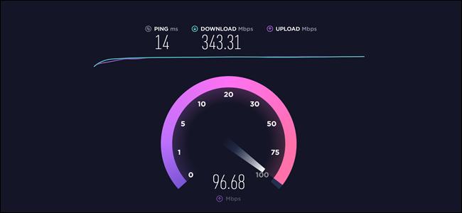 Test de vitesse montrant un ping de 14 ms, un téléchargement de 343,31 Mbps, un téléchargement de 96,68 Mbps.