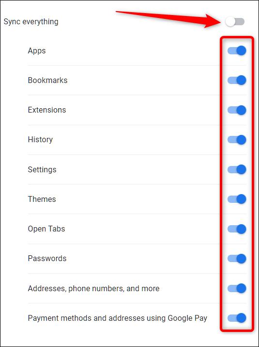 Pour modifier manuellement les informations synchronisées, cliquez d'abord sur Tout synchroniser, puis sur les options que vous ne souhaitez pas enregistrer