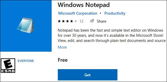 Bloc-notes Windows disponible au téléchargement dans le Windows 10 Store.