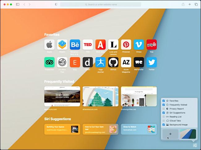 Page d'accueil d'Apple Safari dans macOS 11.0 Big Sur