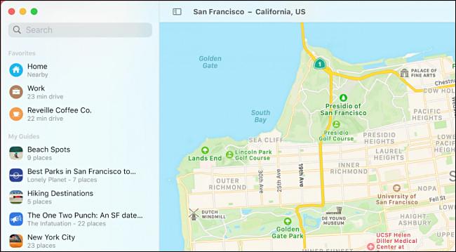 Application macOS 11.0 Big Sur Maps