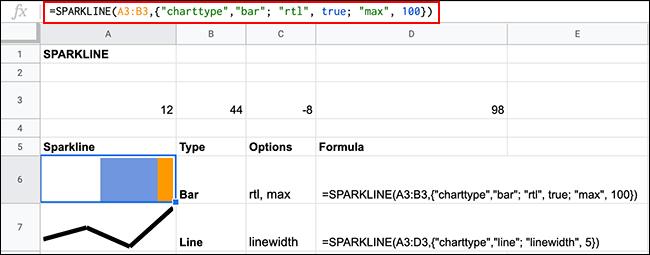 Graphiques Sparkline dans Google Sheets, à l'aide de la fonction SPARKLINE, avec des options de mise en forme supplémentaires appliquées
