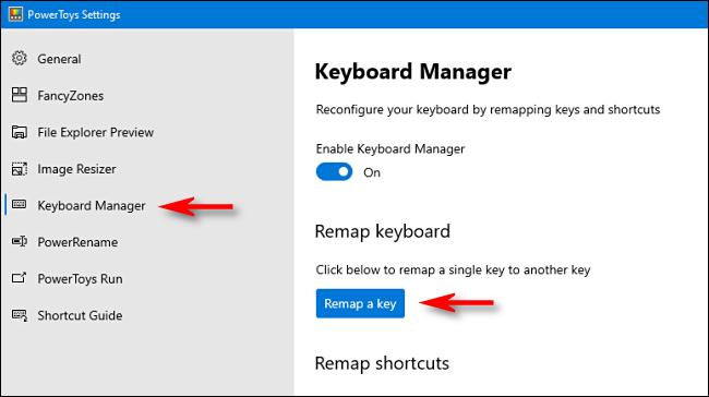 """Cliquez sur """"Gestionnaire de clavier"""" dans la barre latérale, puis cliquez sur """"Remappez une clé."""""""