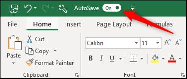 """La fonction AutoSave dans le """"Sur"""" position dans Excel."""