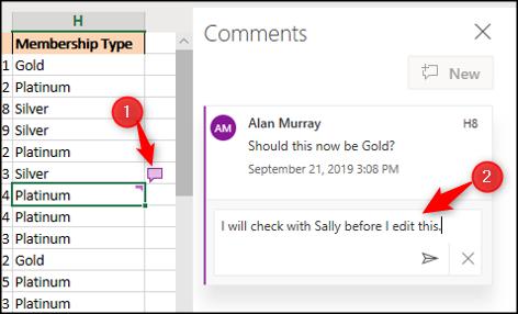 Cliquez sur l'icône de commentaire pour ouvrir le volet Commentaires, puis saisissez votre réponse.