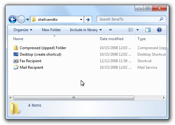 Shell Windows 7: menu sendto