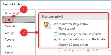"""le """"Arrivée du message"""" paramètres dans le panneau Options."""