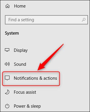 """le """"Notifications et actions"""" option de menu."""