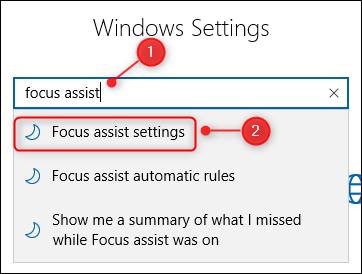 La zone de recherche des paramètres Windows.