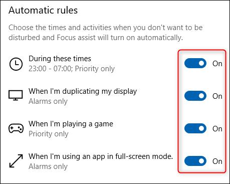 """le """"Règles automatiques"""" section de Focus Assist."""