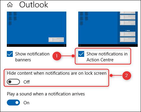 Deux des options dans les options de notifications Outlook.