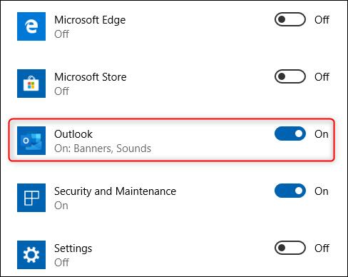 L'option de l'application Outlook.