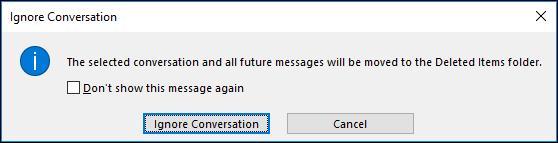 cliquez sur le bouton Ignorer la conversation