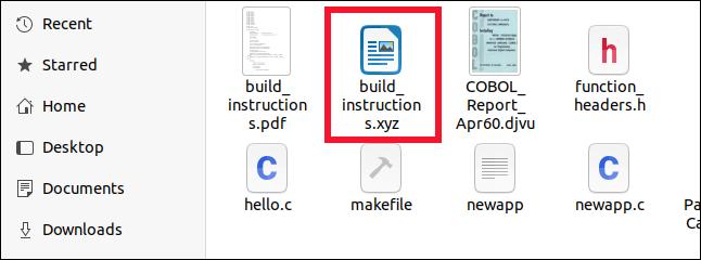 Fichier OpenDocument correctement identifié dans le navigateur de fichiers Fichiers, même si son extension est XYZ.