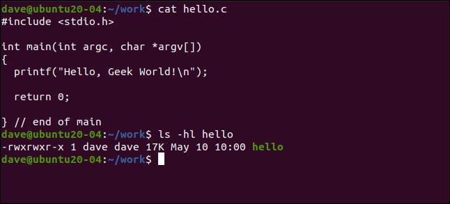 cat hello.c dans une fenêtre de terminal.