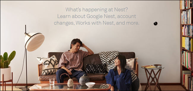 """Deux personnes dans un salon avec un nid en arrière-plan et les mots """"Que se passe-t-il avec Nest?"""""""