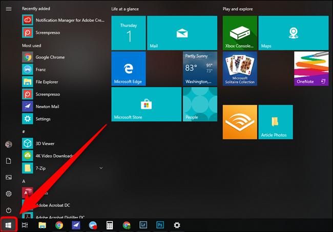 Bouton du menu Démarrer de Microsoft Windows 10