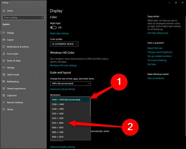 Résolution de changement de Microsoft Windows 10