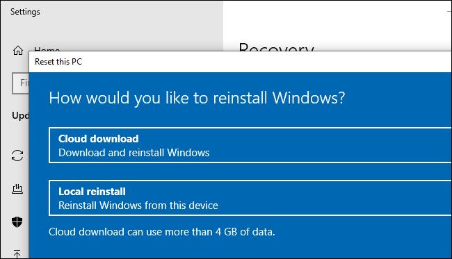 L'option de téléchargement dans le cloud pour réinitialiser (ou réinstaller) Windows 10.
