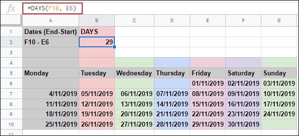 La fonction JOURS dans Google Sheets, calculant le nombre de jours détenus dans deux autres cellules